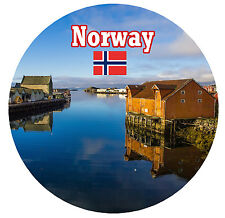NORWAY / FLAG / SIGHTS - ROUND SOUVENIR FRIDGE MAGNET - BRAND NEW - GIFT