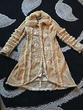 Womens Vintage Long Faux Suede & Faux Fur Coat