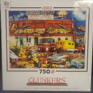 """Clunkers - John's Junk Joint 750 Piece Puzzle - John Roy """"New and Unopened Bag"""""""