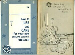 Vintage 1960 General Electric GE Freezer Models CA-273 CA-276 Use Care Booklets!