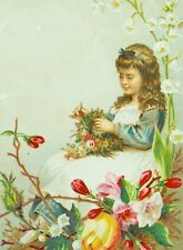1870's-80's Young Girl Weaving Crown of Flowers Fabulous Victorian Card F83
