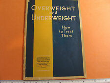 Metropolitan Life Insurance Overweight & Underweight How to Treat Them 1930's