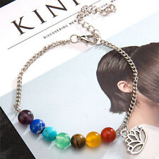 7chakra Colorful Beads Bracelet Lotus Pendant Energy Yoga Ankle Chain Jewelry RX