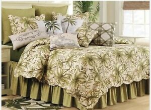 Barbados Sand Quilt Set Tropical Palm Trees Queen Size