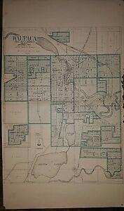 1923 Original Plat Map ~ WAUPACA Twp. County Seat of WAUPACA Co., WISCONSIN