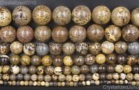 Natural Grass Flower Jasper Gemstone Round Beads 4mm 6mm 8mm 10mm 12mm 15.5""