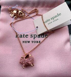 Kate Spade Rose Gold imagination pave pig mini pendant necklace w/ KS Dust Bag