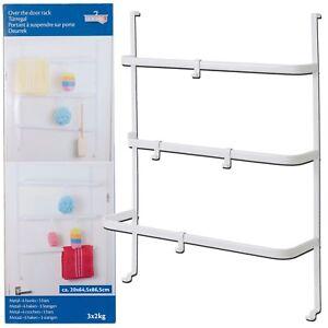 Over The Door Hanging Bathroom Towel Clothes Rack 3 Bar Rail Metal With 6 Hooks