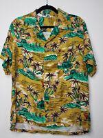 True VTG L Island Fashions Rayon Made In Japan Hawaiian Shirt Hula Drums Button
