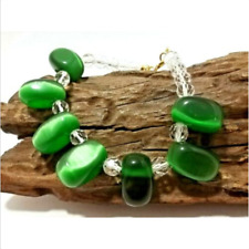 Natural Green Cat Eye Gemstone Huge Bead Crystal Handmade Bracelet