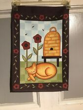 Mini Garden Yard Flag New Bees And Sleeping Kitty Free Fast Shipping