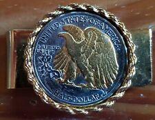 Tone Gold & Silver Money Clip. 1940s Walking Liberty Half Dollar Two