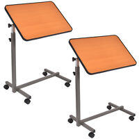2PC Overbed Rolling Table Over Bed Laptop Food Tray Hospital Desk W/Tilting Top