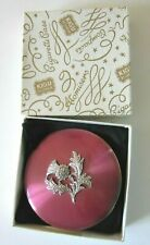 VINTAGE KIGU MARCASITE THISTLE FLORAL METAL COMPACT POWDER CASE with BOX