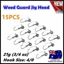 15X 21g ( 3/4oz ) Hook size 4/0 Weedguard Weedless Jig Head Chemically Sharpened