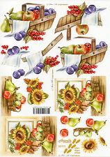 3D Motivbogen Etappenbogen Bilderbogen Grußkarte Sonnenblumen & Obstkorb (058)