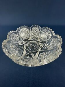Antique Edwardian Imperial Glass clear pressed round nappy or dish #555A c.1914