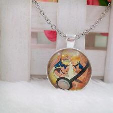 Mega Charizard Y Pokemon Pendant Tibet silver Cabochon Glass Chain Necklace