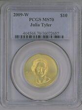 2009-W $10 GOLD COMMEMORATIVE FIRST SPOUSE JULIA TYLER PCGS MS70 1/2 OZ PURE. !!