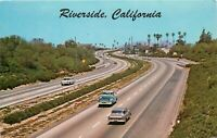 Old Chrome Postcard CA L119 Riverside Freeway Highway ca1960s Cars Traffic
