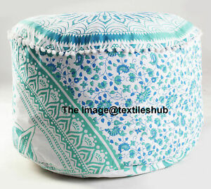 """New 18X18X14"""" Round Cotton Pouf Ottoman Cover Floor Decorative Foot Stool Cover*"""