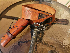 Cowboy Leather Holster and Belt Hand Tooled Embossed Leather