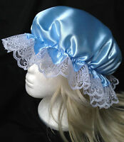victorian  mop cap adult baby fancy dress satin bonnet cap hat blue sissy maid
