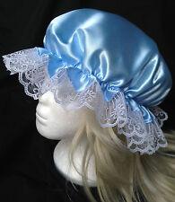 victorian  mop cap adult baby fancy dress satin bonnet cap hat blue sissy maid