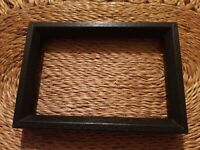 "Vintage 80s Small Black Wood Rectangle Picture Frame Photo Holds 4"" × 6"""