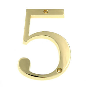Gatehouse Polished Brass 4 Inch House Numbers, Flush Mount
