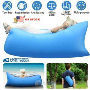 ORANGE TSAR LTD Lazy Lounger Inflatable Air Bed Sofa Lay Sack Hangout Camping Beach Bean Bag black