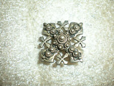 Vintage 900 Silver Jerusalem Cross Pendant Brooch Pin