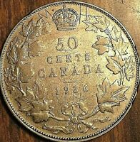 1936 CANADA SILVER 50 CENTS COIN