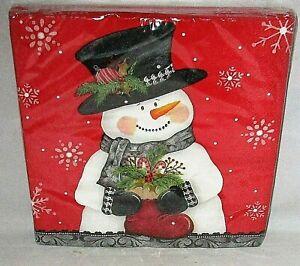"CHRISTMAS LUNCHEON  NAPKINS 20 Ct. 12 7/8"" X 12 3/4""SNOWMAN HOLDING SANTA BOOT"