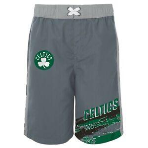 Outerstuff Boston Celtics NBA Boys Youth (8-20) Heat-Wave Swim Shorts, Grey