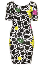 Topshop Floral Print Multi Coloured Bodycon Jersey Stretch Dress UK Size 6