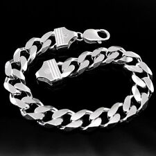 Solid Style Cuban Curb Link Men's 925 Sterling Silver Bracelet wrist Cuff chain