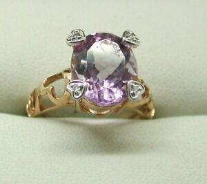 Beautiful 9 Carat Rose Gold Large Amethyst And Diamond Dress Ring
