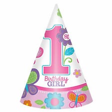 8 Sweet Pink Butterfly Girl's Happy 1st Birthday Party Paper Cone Hats