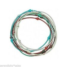 Steel Stretch Bracelet MIX ~ 8 strands Mixed Colors 2mm w/ Colorful Round Beads