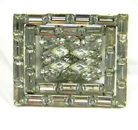 Vintage Clear Crystal Rhinestone Brooch Mid Century Statement Pin Estate Bling