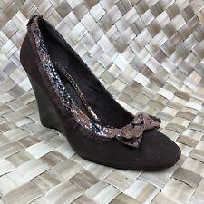 Naughty Monkey Sz 9.5 Brown Suede Heel Wedge Animal Print Bow Shoes
