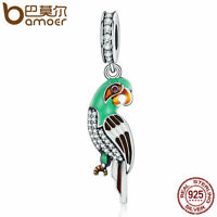 Bamoer S925 Sterling Silver Charm cute parrot Dangle and CZ Fit Bracelet Jewelry