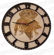 Orologio da muro parete legno bicolore incisione scena caccia design artigianale