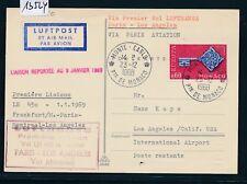 13524) LH FF Paris - Los Angeles 8.1.69, Karte ab Monaco, CEPT