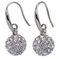 Swarovski Elements Crystal Lucky Ball Earrings Rhodium Plated Authentic 7152u