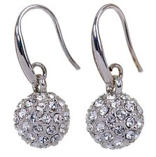Swarovski Elements Crystal Lucky Ball Earrings Rhodium Plated New 7152b
