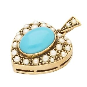 Vintage 9Carat Yellow Gold Turquoise & Pearl Glass Heart Locket (21x22mm)