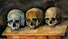 High-quality Handpainted Oil painting Still life Skull cranium on table