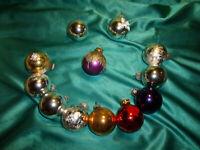 12 Vintage Christbaumkugeln Glas silber lila rot gold alte Weihnachtskugeln CBS